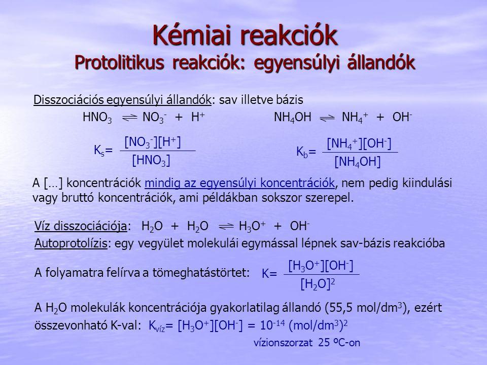 Kémiai reakciók Protolitikus reakciók: egyensúlyi állandók