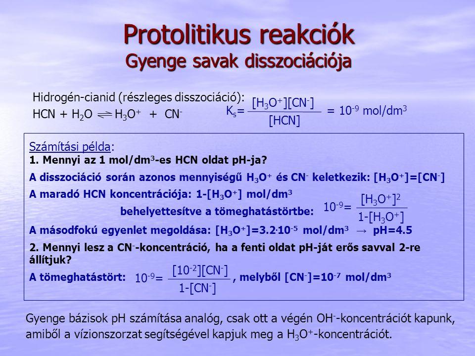 Protolitikus reakciók Gyenge savak disszociációja