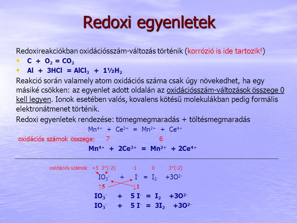 Redoxi egyenletek Redoxireakciókban oxidációsszám-változás történik (korrózió is ide tartozik!) C + O2 = CO2.