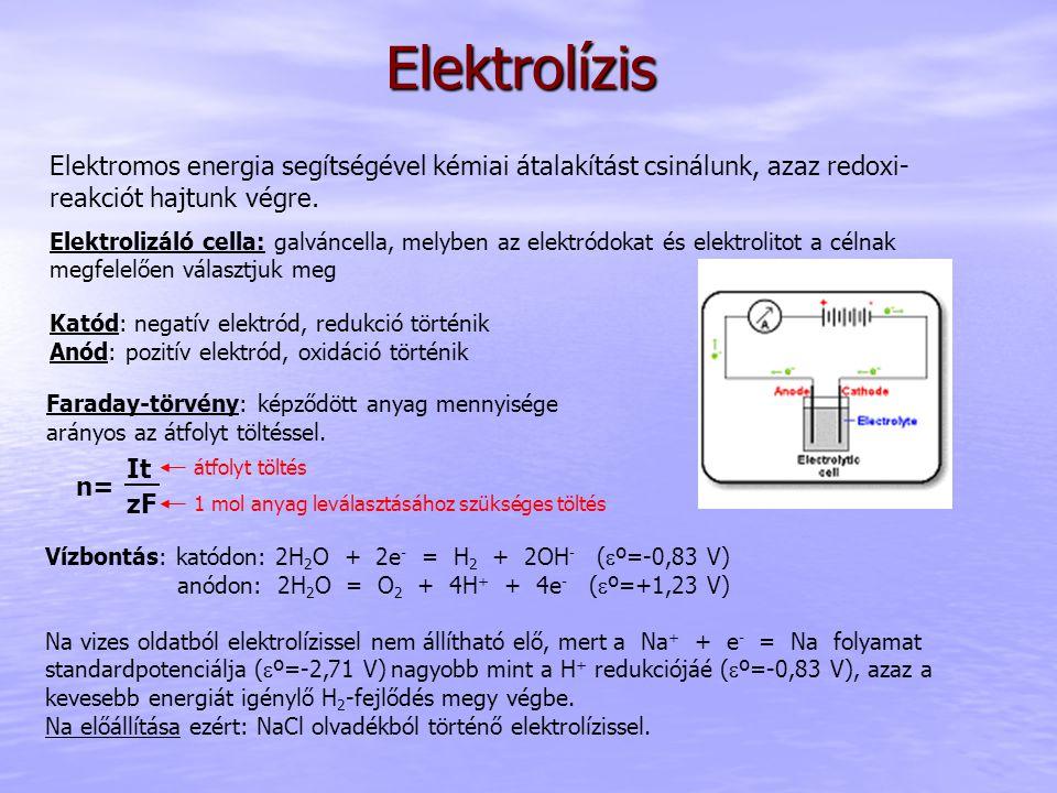 Elektrolízis Elektromos energia segítségével kémiai átalakítást csinálunk, azaz redoxi- reakciót hajtunk végre.