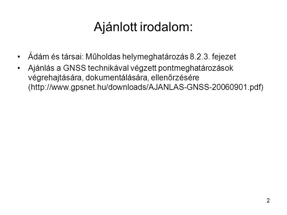 Ajánlott irodalom: Ádám és társai: Műholdas helymeghatározás 8.2.3. fejezet.