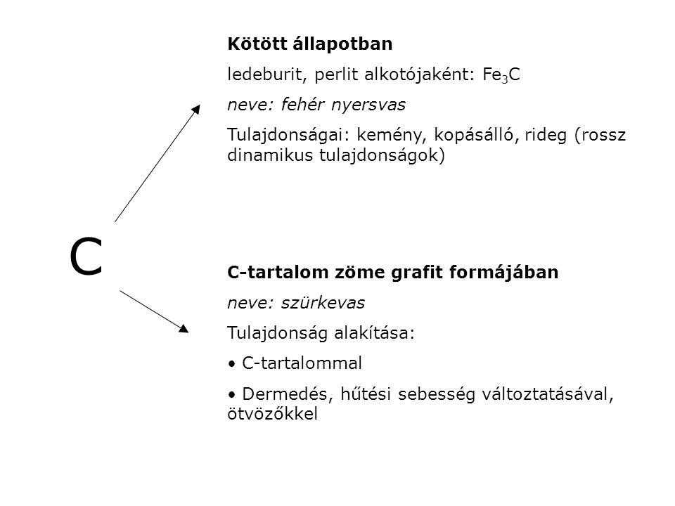C Kötött állapotban ledeburit, perlit alkotójaként: Fe3C