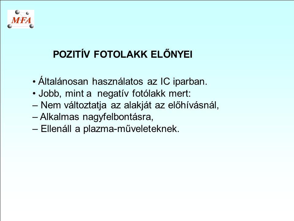POZITÍV FOTOLAKK ELŐNYEI