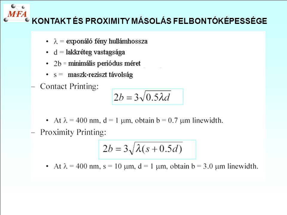 KONTAKT ÉS PROXIMITY MÁSOLÁS FELBONTÓKÉPESSÉGE