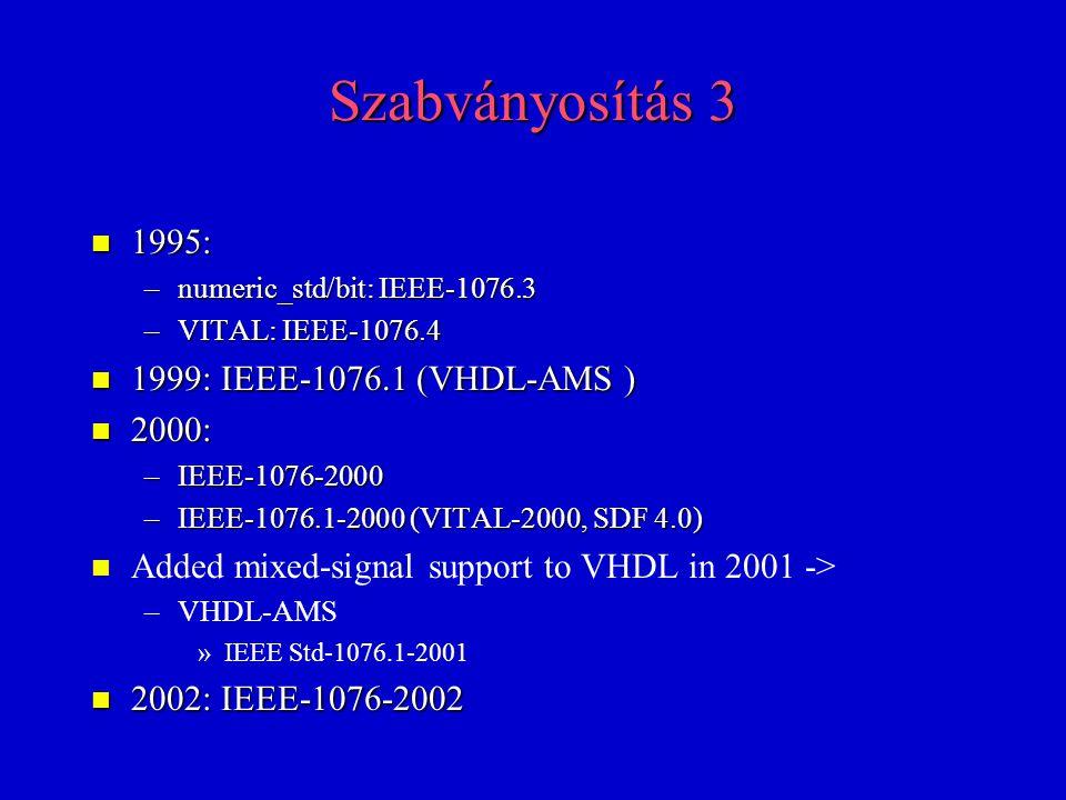 Szabványosítás 3 1995: 1999: IEEE-1076.1 (VHDL-AMS ) 2000: