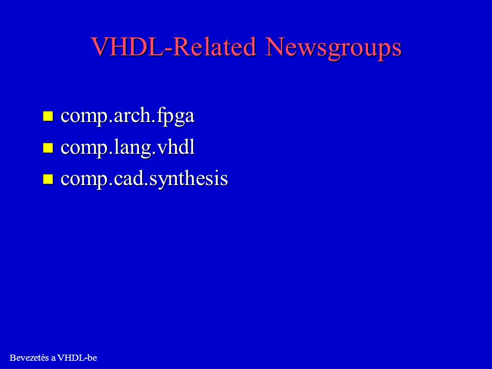VHDL-Related Newsgroups