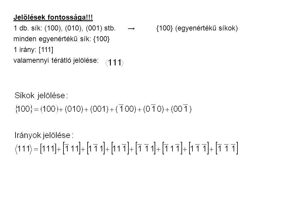 Jelölések fontossága!!! 1 db. sík: (100), (010), (001) stb. → {100} (egyenértékű síkok) minden egyenértékű sík: {100}