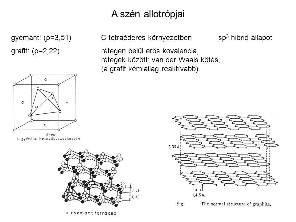 A szén allotrópjai gyémánt: (ρ=3,51) C tetraéderes környezetben sp3 hibrid állapot. grafit: (ρ=2,22) rétegen belül erős kovalencia,