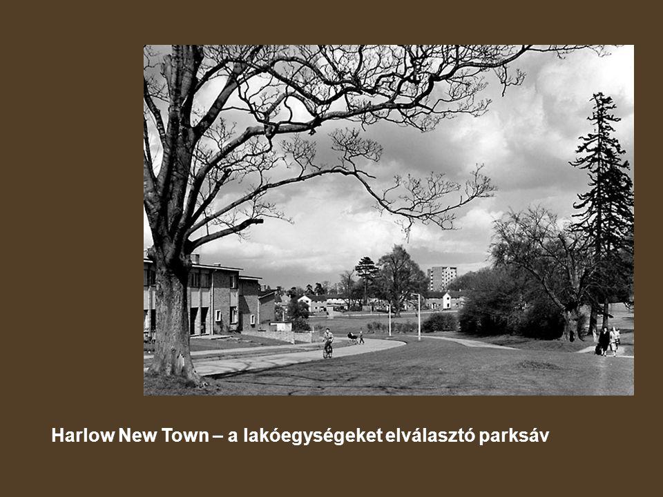 Harlow New Town – a lakóegységeket elválasztó parksáv