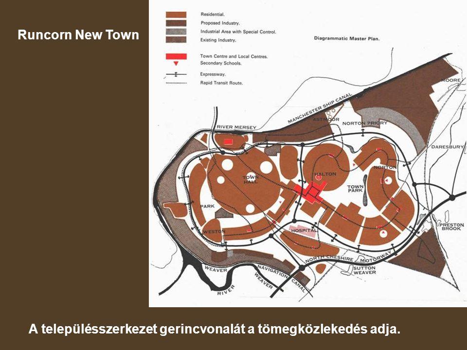 Runcorn New Town A településszerkezet gerincvonalát a tömegközlekedés adja.