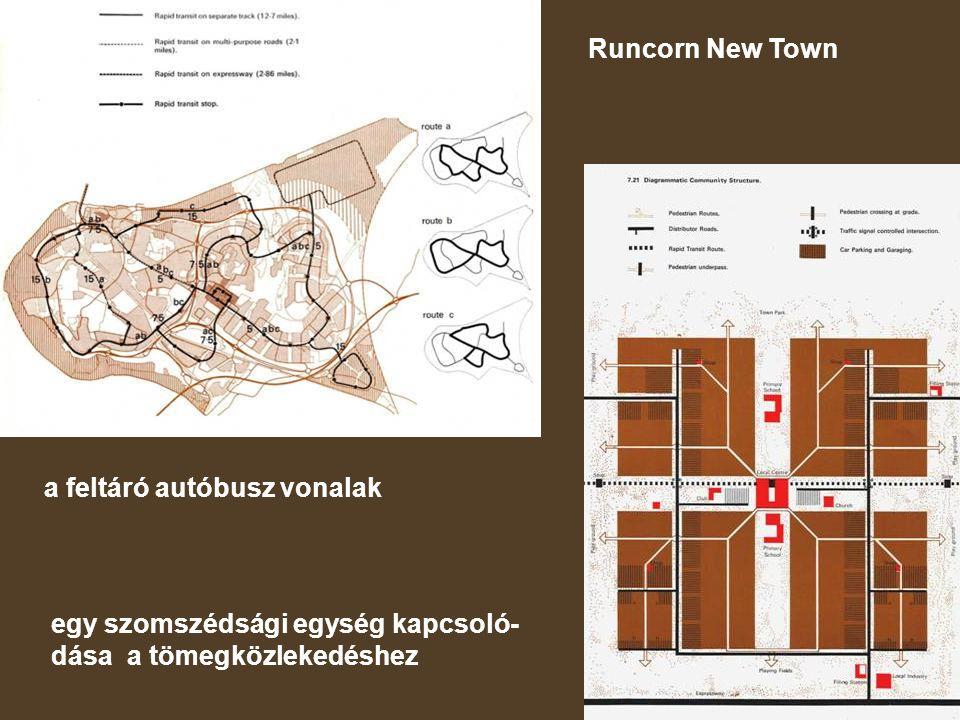 Runcorn New Town a feltáró autóbusz vonalak.