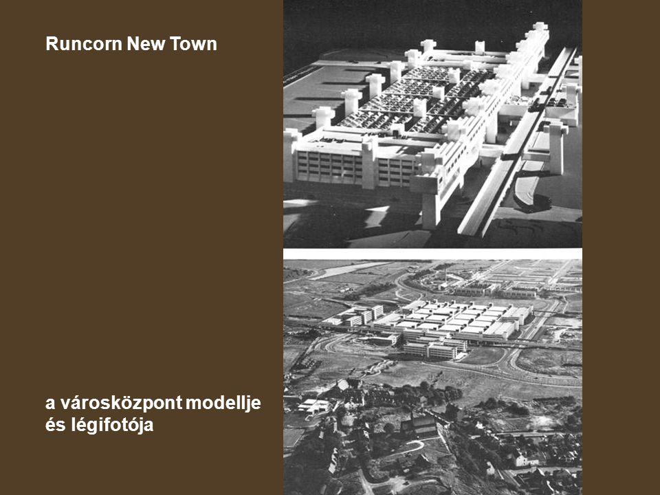 Runcorn New Town a városközpont modellje és légifotója