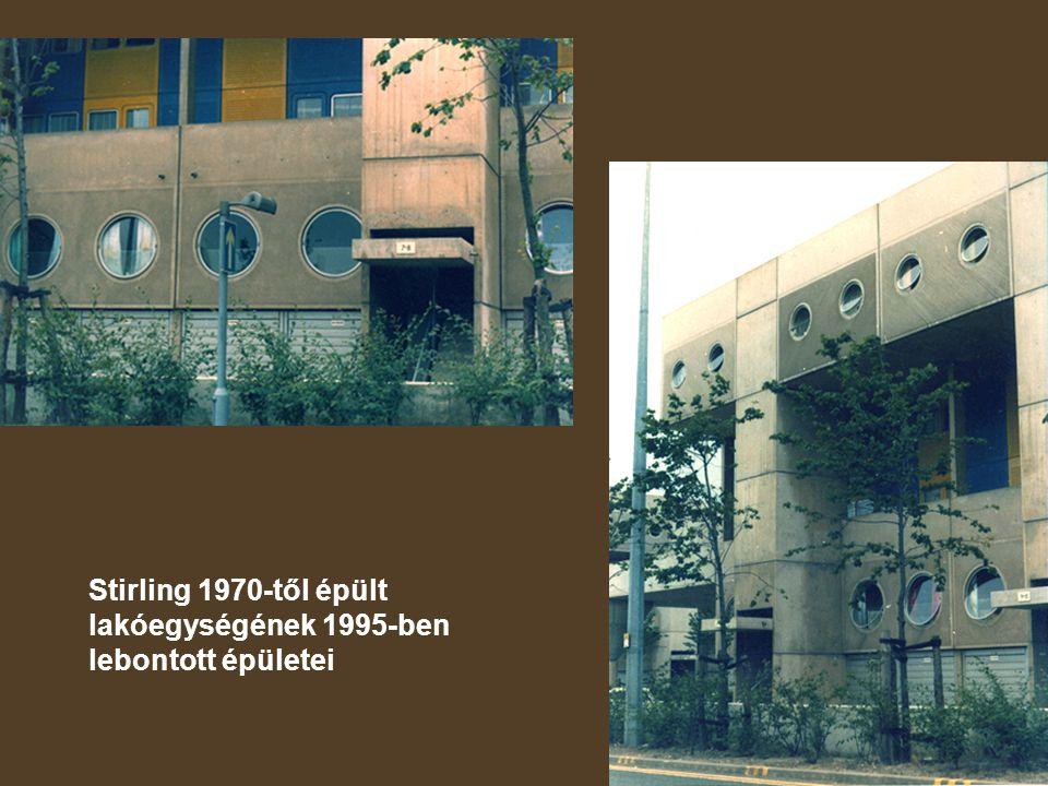 Stirling 1970-től épült lakóegységének 1995-ben lebontott épületei