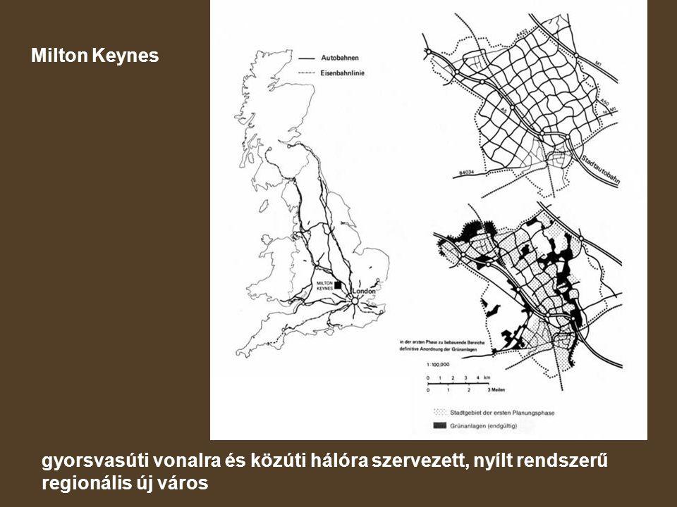 Milton Keynes gyorsvasúti vonalra és közúti hálóra szervezett, nyílt rendszerű regionális új város