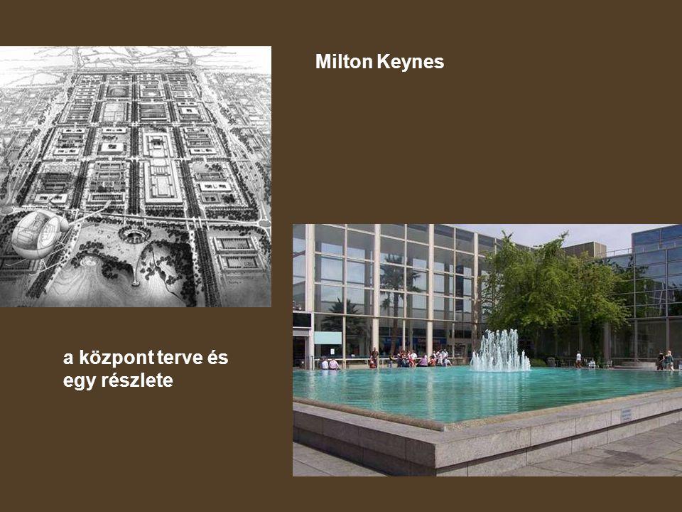 Milton Keynes a központ terve és egy részlete