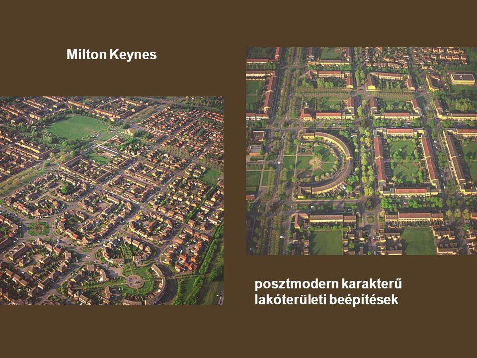 Milton Keynes posztmodern karakterű lakóterületi beépítések