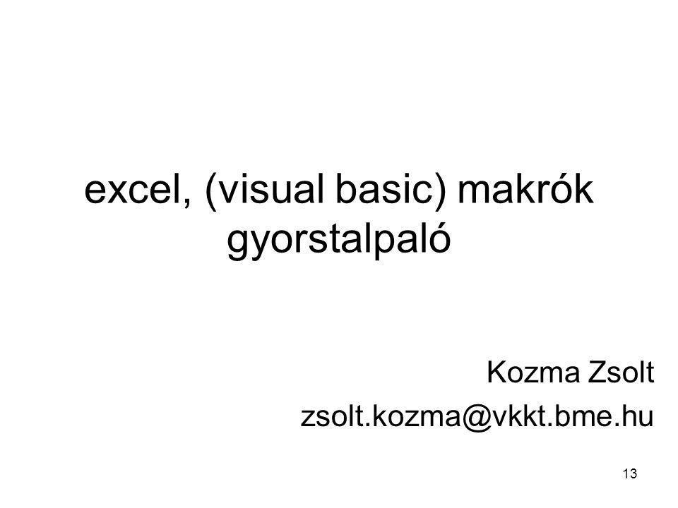 excel, (visual basic) makrók gyorstalpaló