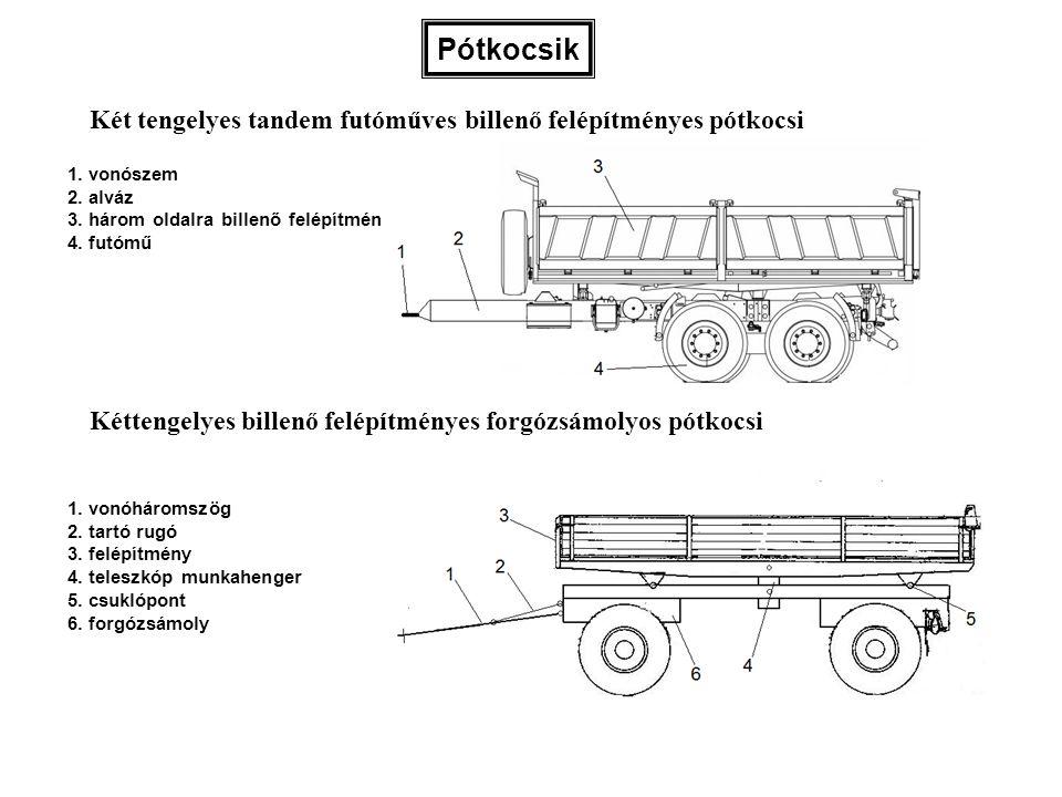 Pótkocsik Két tengelyes tandem futóműves billenő felépítményes pótkocsi. 1. vonószem. 2. alváz. 3. három oldalra billenő felépítmény.