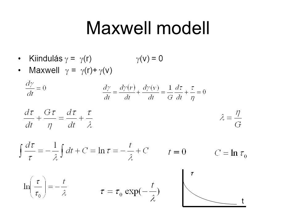 Maxwell modell Kiindulás  = (r) (v) = 0 Maxwell  = (r)+ (v)  t