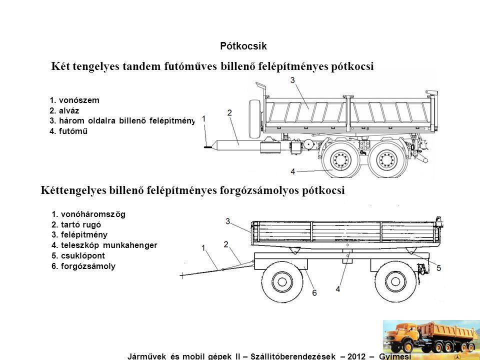 Két tengelyes tandem futóműves billenő felépítményes pótkocsi