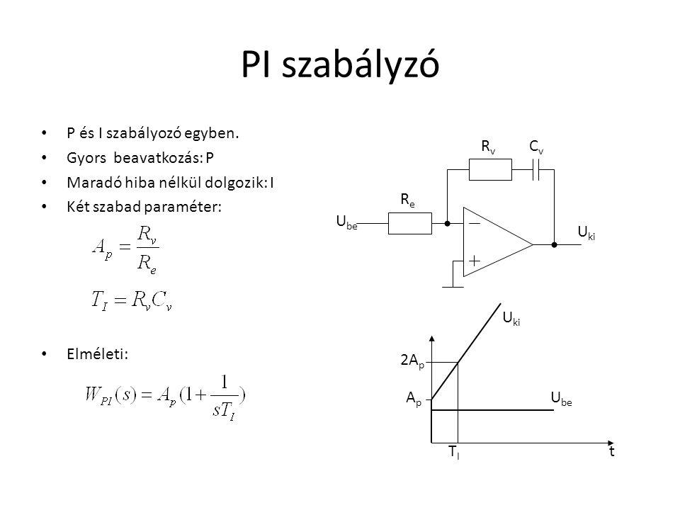 PI szabályzó P és I szabályozó egyben. Gyors beavatkozás: P