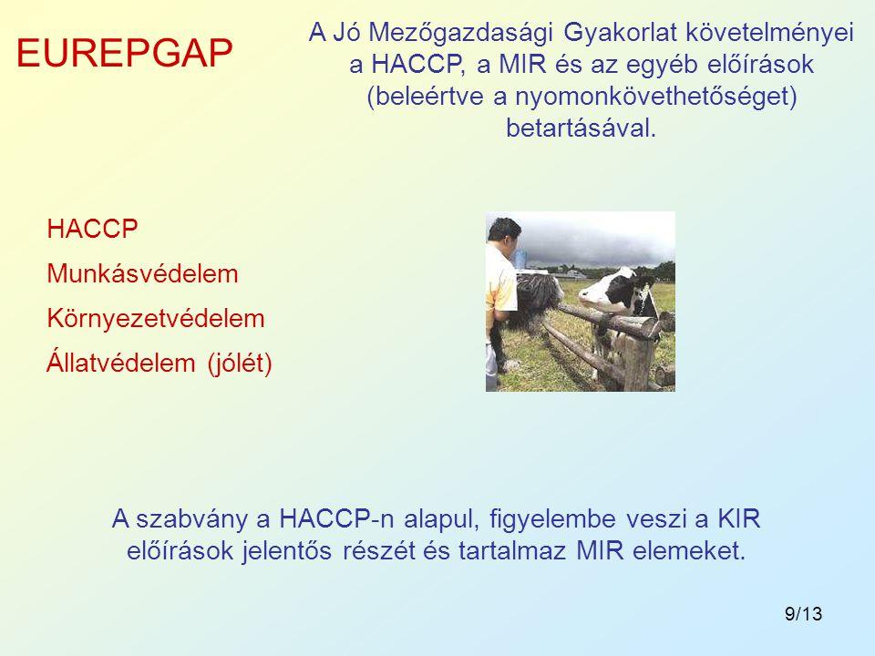 A Jó Mezőgazdasági Gyakorlat követelményei a HACCP, a MIR és az egyéb előírások (beleértve a nyomonkövethetőséget) betartásával.