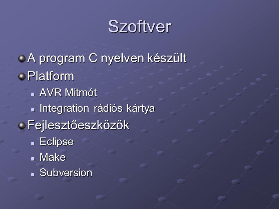 Szoftver A program C nyelven készült Platform Fejlesztőeszközök