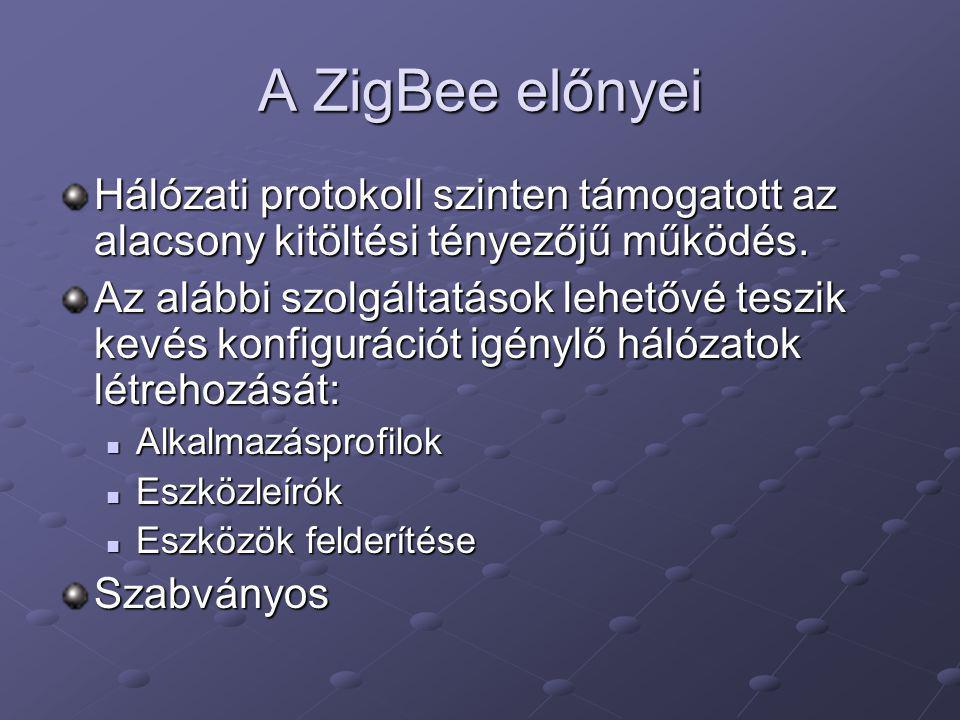 A ZigBee előnyei Hálózati protokoll szinten támogatott az alacsony kitöltési tényezőjű működés.