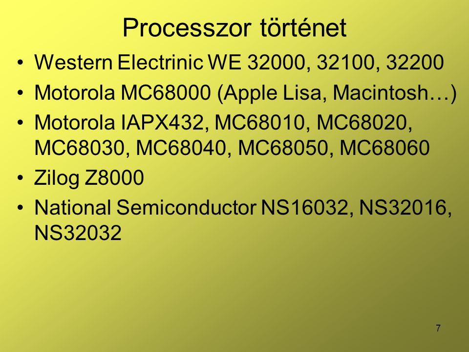 Processzor történet Western Electrinic WE 32000, 32100, 32200