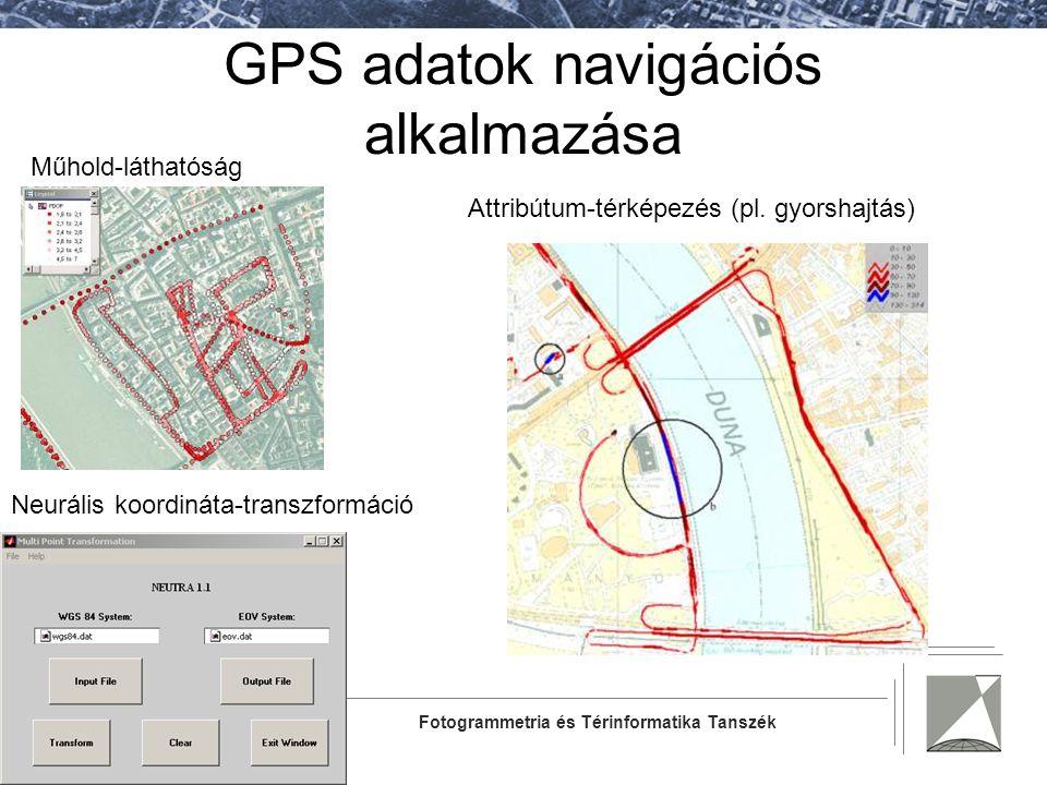 GPS adatok navigációs alkalmazása