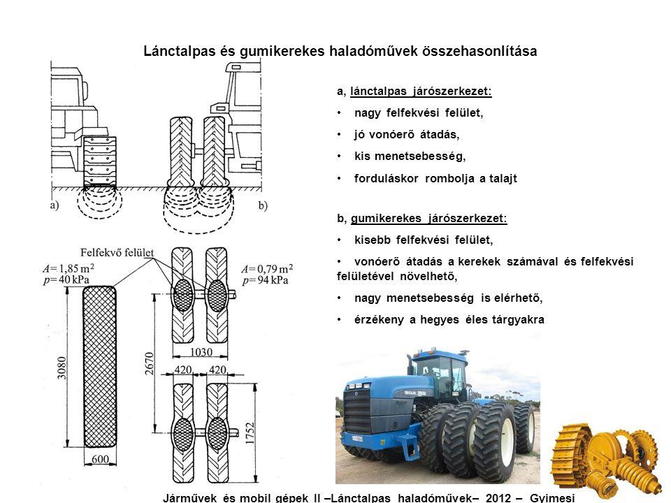 Lánctalpas és gumikerekes haladóművek összehasonlítása
