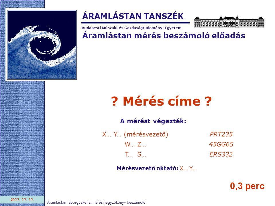 Áramlástan mérés beszámoló előadás