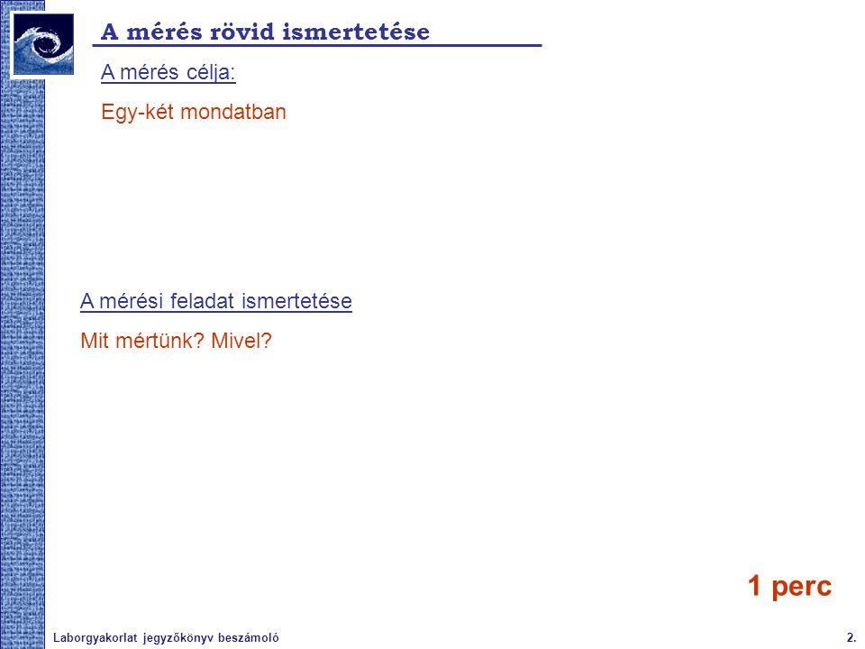 1 perc A mérés rövid ismertetése A mérés célja: Egy-két mondatban