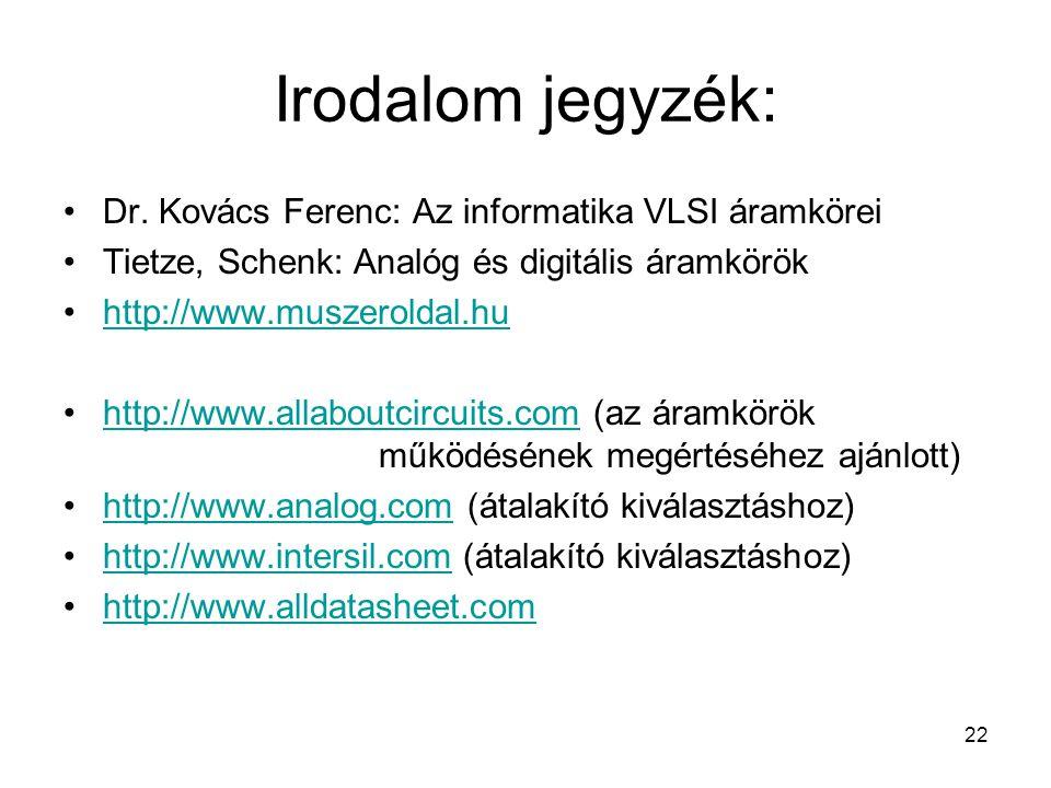 Irodalom jegyzék: Dr. Kovács Ferenc: Az informatika VLSI áramkörei