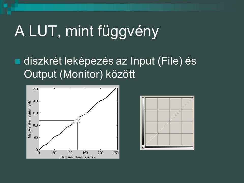 A LUT, mint függvény diszkrét leképezés az Input (File) és Output (Monitor) között