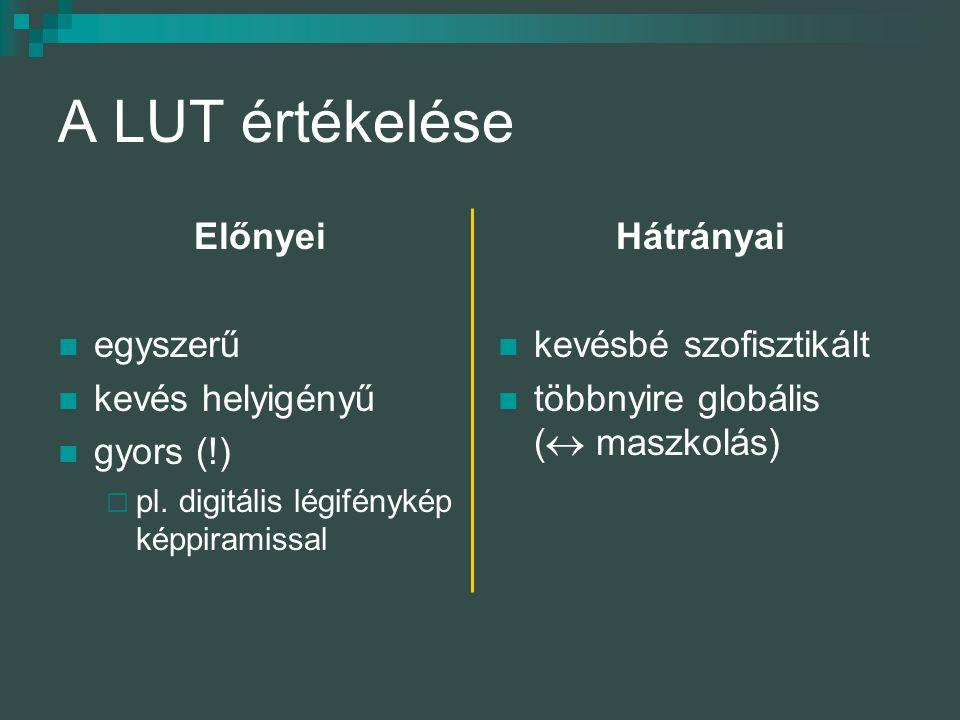 A LUT értékelése Előnyei egyszerű kevés helyigényű gyors (!) Hátrányai