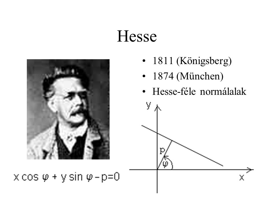 Hesse 1811 (Königsberg) 1874 (München) Hesse-féle normálalak