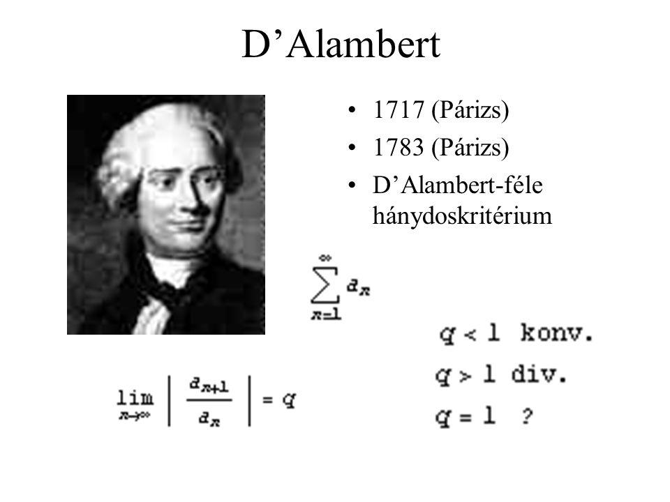 D'Alambert 1717 (Párizs) 1783 (Párizs)