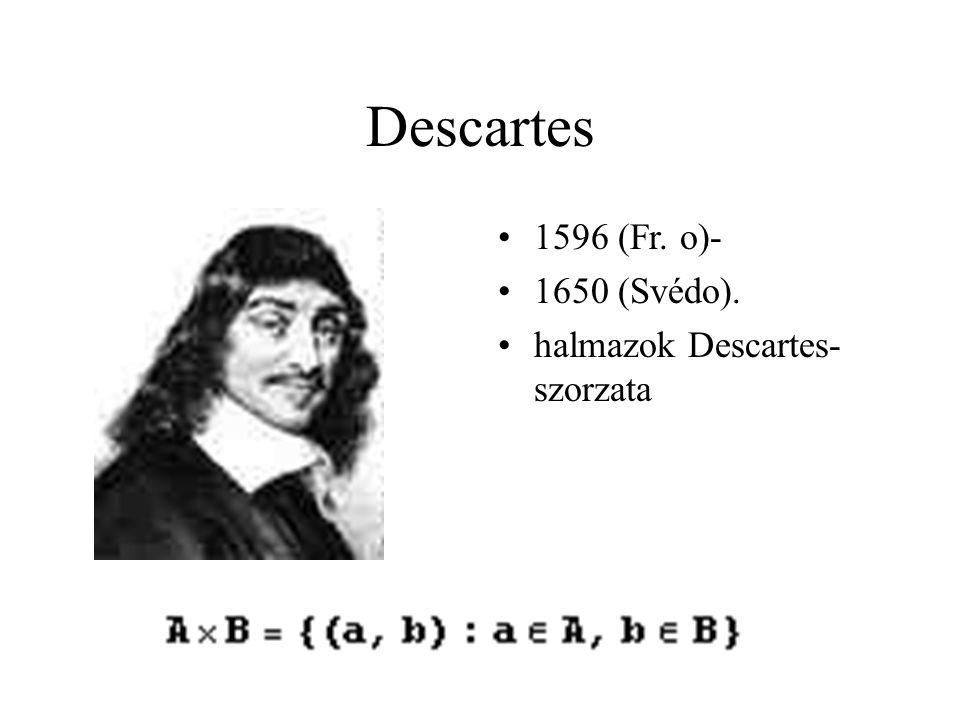 Descartes 1596 (Fr. o)- 1650 (Svédo). halmazok Descartes-szorzata