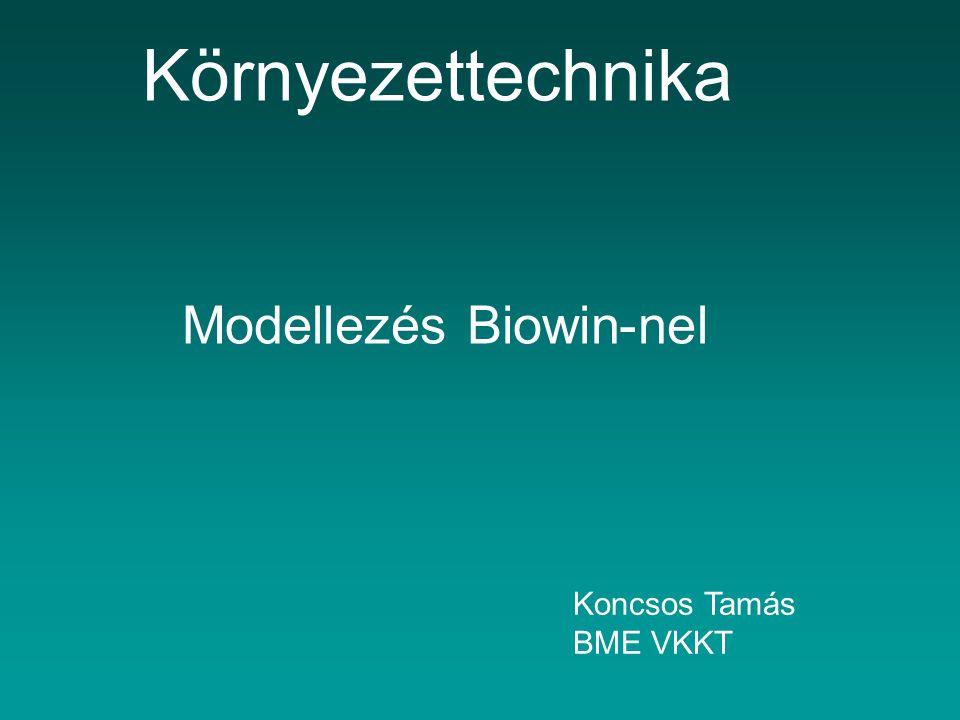 Környezettechnika Modellezés Biowin-nel Koncsos Tamás BME VKKT