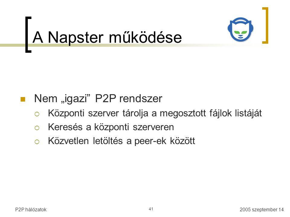 """A Napster működése Nem """"igazi P2P rendszer"""