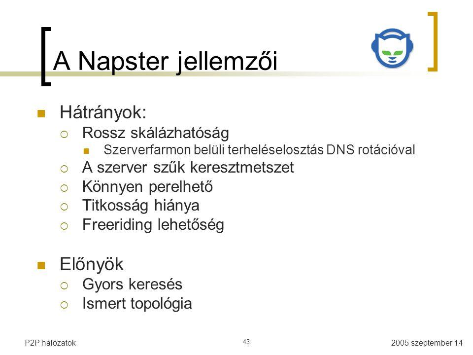 A Napster jellemzői Hátrányok: Előnyök Rossz skálázhatóság