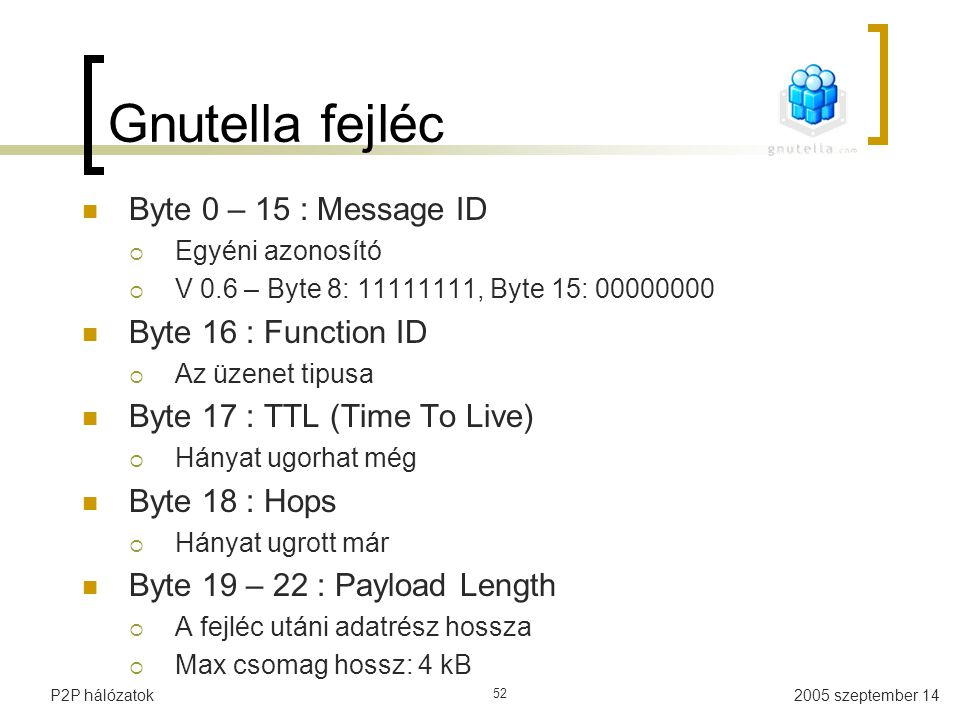 Gnutella fejléc Byte 0 – 15 : Message ID Byte 16 : Function ID