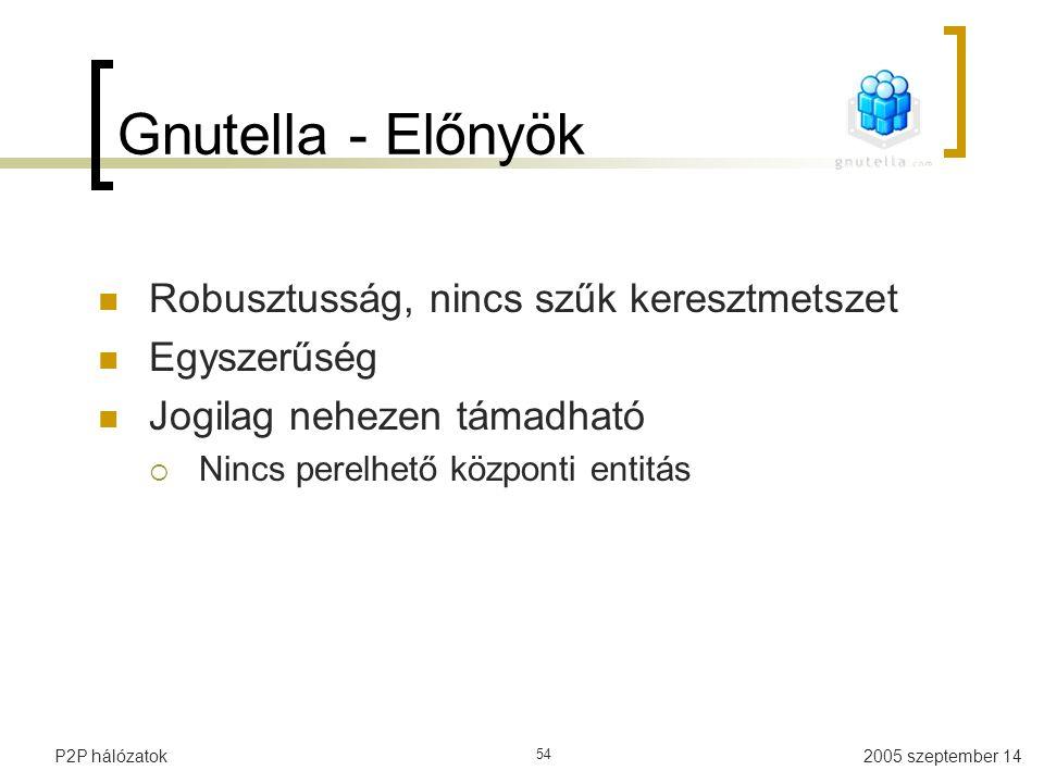 Gnutella - Előnyök Robusztusság, nincs szűk keresztmetszet Egyszerűség