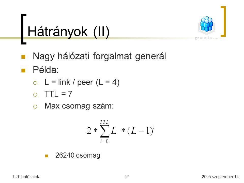 Hátrányok (II) Nagy hálózati forgalmat generál Példa:
