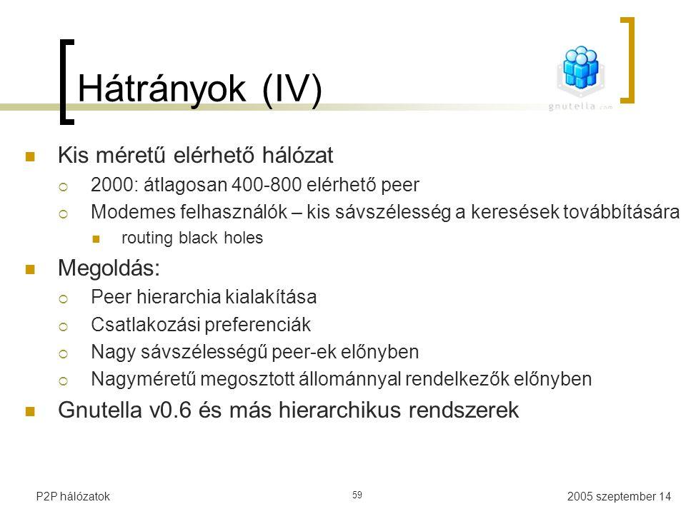 Hátrányok (IV) Kis méretű elérhető hálózat Megoldás: