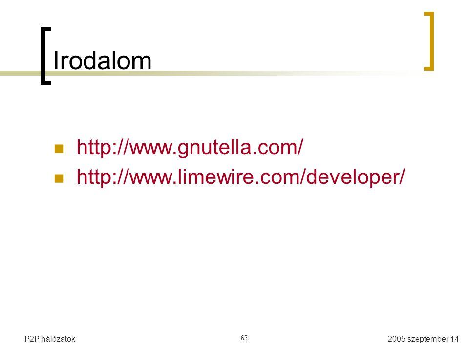 Irodalom http://www.gnutella.com/ http://www.limewire.com/developer/