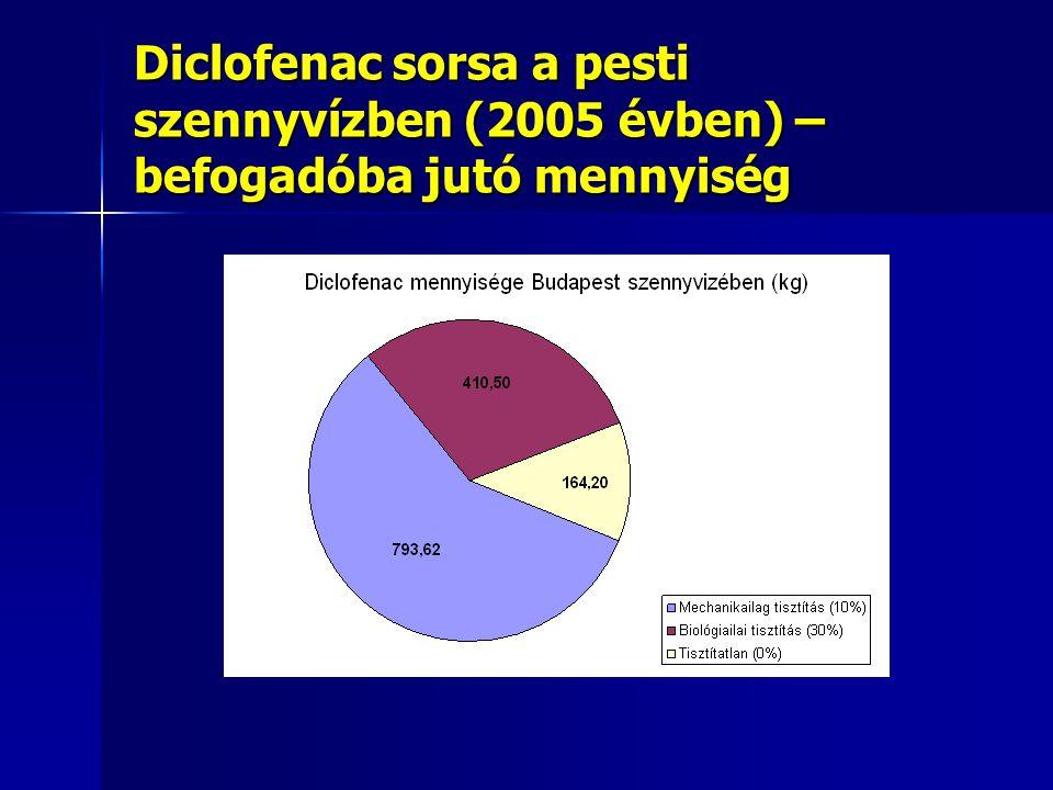 Diclofenac sorsa a pesti szennyvízben (2005 évben) – befogadóba jutó mennyiség
