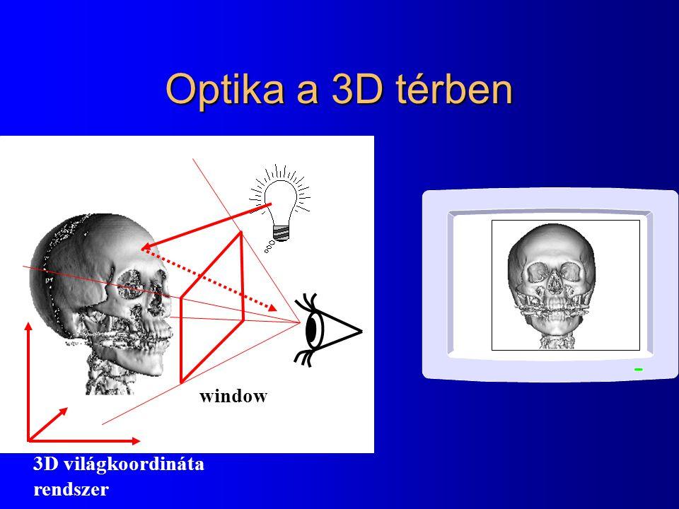 Optika a 3D térben window 3D világkoordináta rendszer
