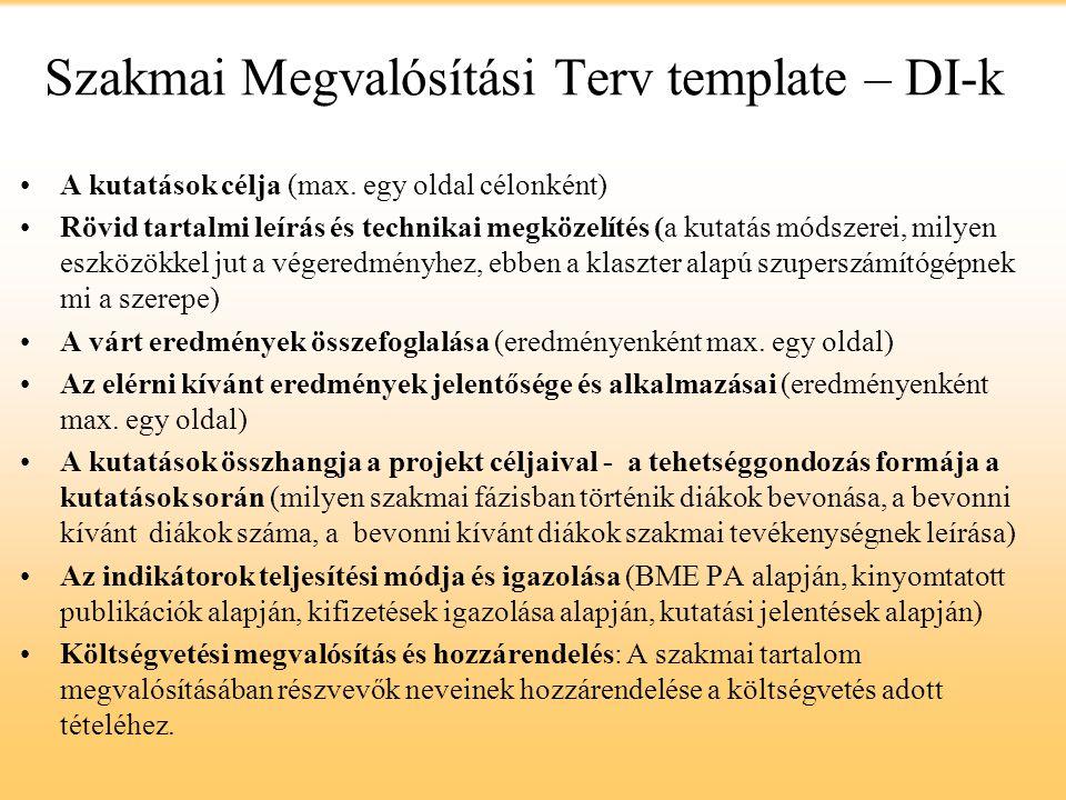 Szakmai Megvalósítási Terv template – DI-k
